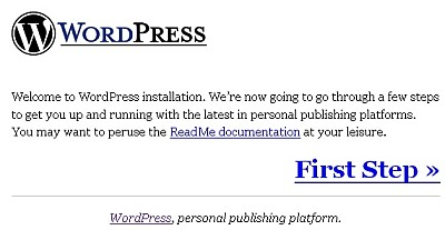 WordPress Install Screen