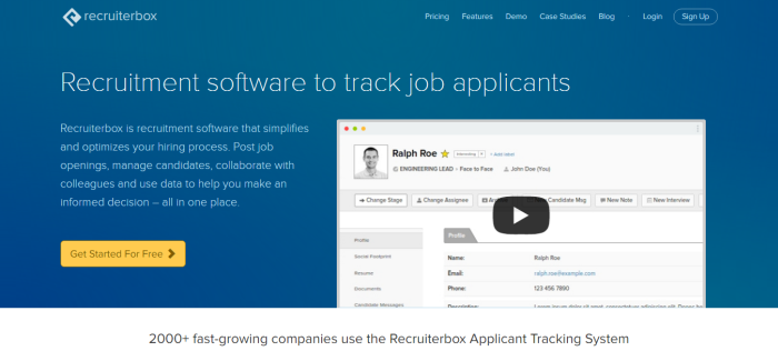 Recruiting Software and Applicant Tracking System Recruiterbox.com